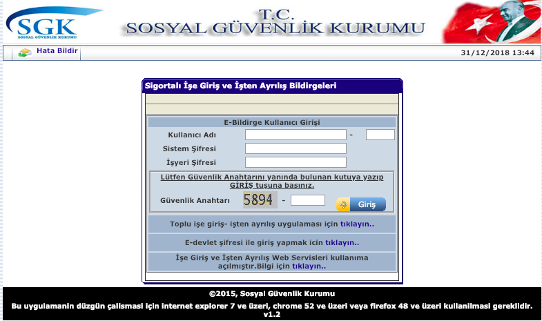 İşe giriş bildirgesi SGK ekranı