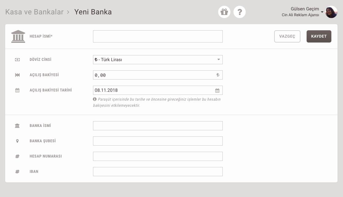 Banka hesabı ekleme