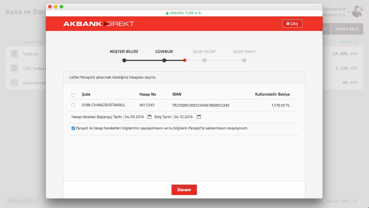 Akbank Direkt hesaplarını görüntülemek